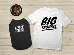 בגדים לכלבים – מתנה לכלב Big Little Trouble